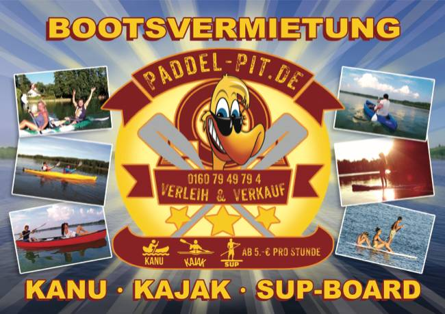 Paddel Pit Bootsvermietung am Motzener See in Motzen bei Berlin : Kanus, Kajaks, SUP Boards