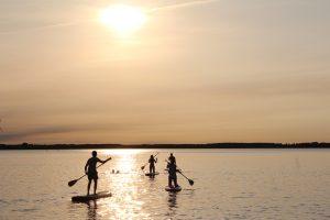 SUP Boards, Stand Up Paddling, Motzener See, Paddel Pit, Sonnenuntergang