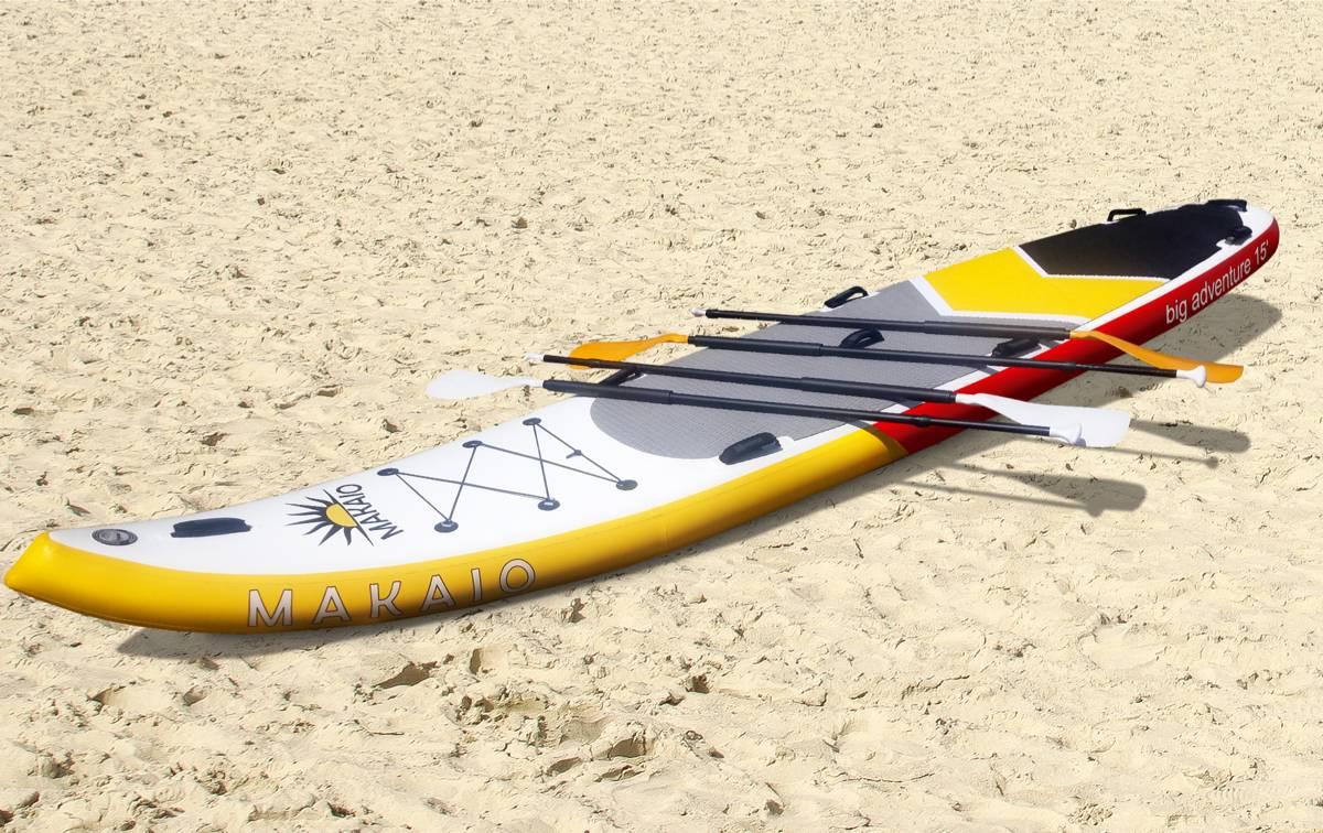 Makaio Big Sup Board. Stand up paddling Board für mehrere Personen leihen, mieten am Motzener See bei Berlin. Paddel Pit SUPverleih