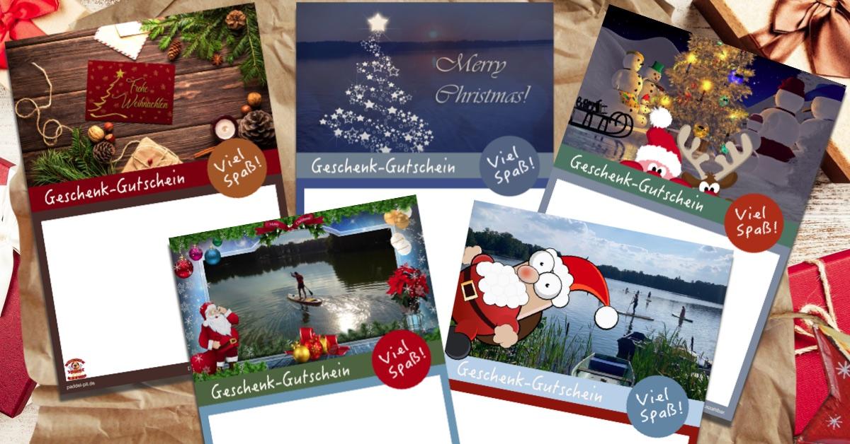 Geschenk-Gutschein Weihnachten Paddel Pit Bootsverleih und SUP-Verleih bei Berlin am Motzener See